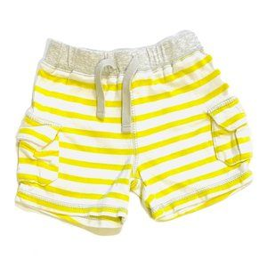 Yellow Striped Cotton Shorts